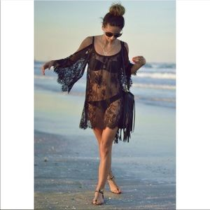 Other - ❤️🦋 Sexy Black Lace Swimsuit Bikini Cover Up